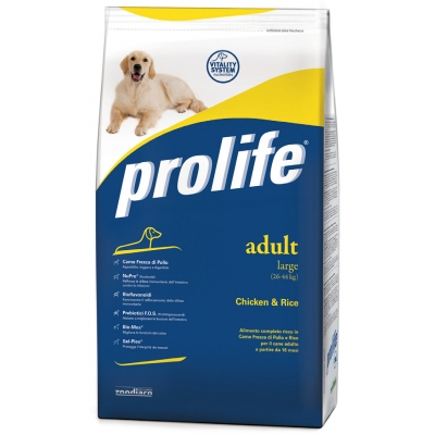 Complete pet food with fresh chicken and rice for medium breed adult dogs from 12 months old