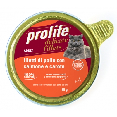 Alimento completo ricco in filetti di pollo con anatra e mirtilli.
